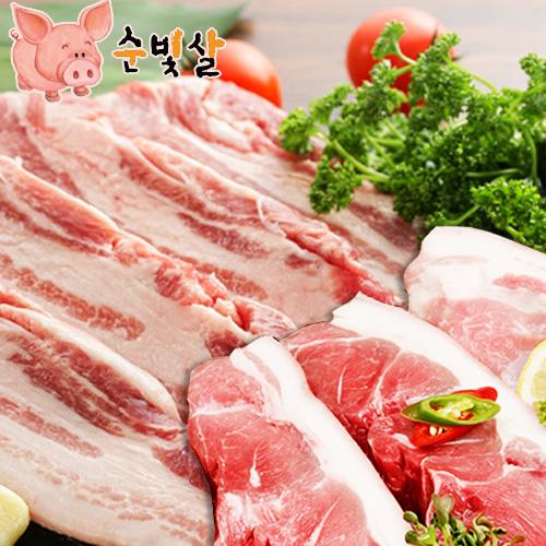 [순빛살] 구룡농장 무항생제 돼지 삼겹살1kg+앞다리살1kg(fresh)이식사