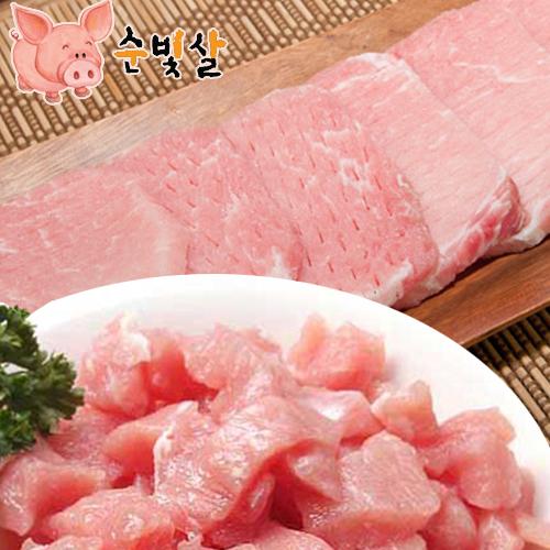 [순빛살] 구룡농장 무항생제 돼지 등심돈가스500g+탕수육500g(fresh)이식사