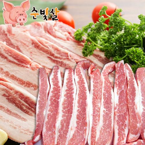 [순빛살] 구룡농장 무항생제 돼지 삼겹살1kg+항정살1kg(fresh)이식사