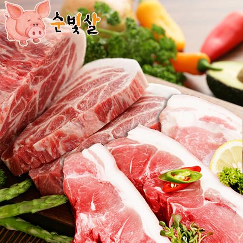 [순빛살] 구룡농장 무항생제 돼지 목살500g+앞다리살500g(fresh)이식사