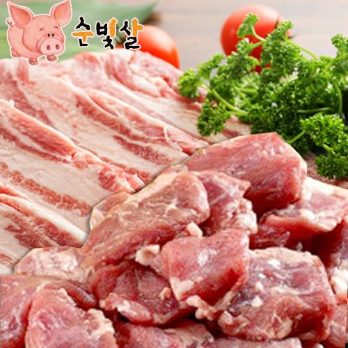[순빛살] 구룡농장 무항생제 돼지 삼겹살1kg+갈매기살1kg(fresh)이식사