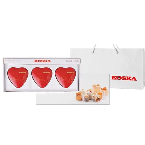 [KOSKA] 터키쉬딜라이트 하트 3종 셋트 / 믹스플레이버150g+믹스너트150g+초콜릿플레이버150g이식사