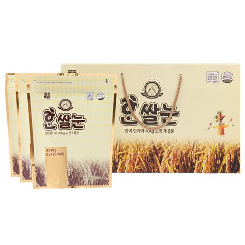 [PURE GRAIN] 현미 한가마40kg 도정추출분 한쌀눈 40g(2g*20포)*3봉이식사