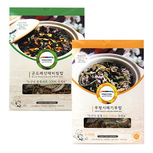 [바로COOK] 누구나 쉽게 만들어먹는 건나물밥 2종 1호 (곤드레산채비빔밥 25g*3팩+무청시래기무밥 30g*3팩)이식사