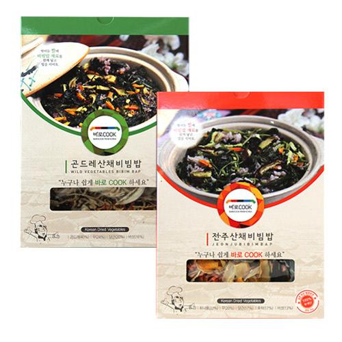 [바로COOK] 누구나 쉽게 만들어먹는 건나물밥 2종 2호(곤드레산채비빔밥 25g*3팩+전주산채비빔밥 30g*3팩)이식사