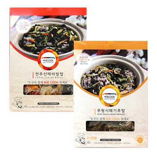 [바로COOK] 누구나 쉽게 만들어먹는 건나물밥 2종 3호 (무청시래기무밥 30g*3팩+전주산채비빔밥 30g*3팩)이식사
