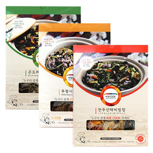 [바로COOK] 누구나 쉽게 만들어먹는 건나물밥 family 3종세트(각3팩씩) / 25g*3팩,30g*6팩이식사