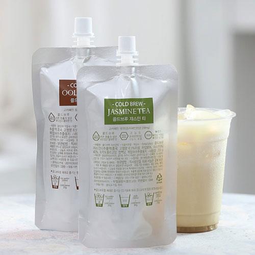 [COLD BREW] 콜드브루 고농축 원액(파우치) 2종세트 4호(우롱차+쟈스민티) / 200g(파우치)*2팩이식사