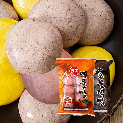 [안흥찐빵마을] 수제 애플 찐빵 500g(10입)*2봉+수제 초코블랙 찐빵 500g(10입)*2봉이식사
