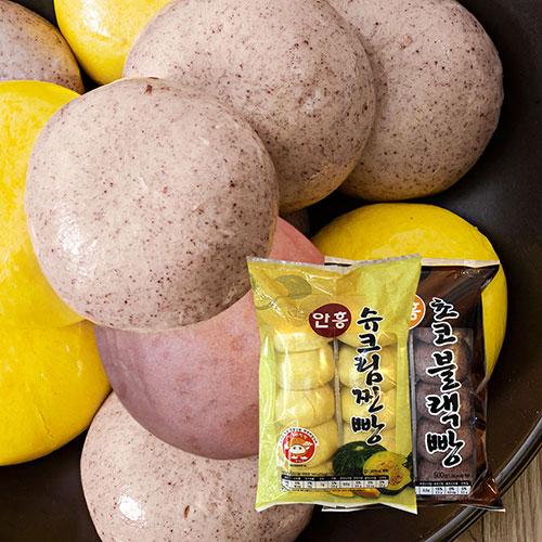 [안흥찐빵마을] 수제 슈크림 찐빵 500g(10입)*2봉+수제 초코블랙 찐빵 500g(10입)*2봉이식사