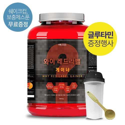 [말근육] 벌크업! NO SUGAR! 단백질보충제(WPI/WPH) 와이 레드라벨 게이너 4kg(코코아맛) / 80회분(1회50g)이식사