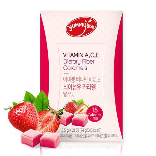 [야미봉] 배고플떄 하나씩! 비타민A,C,E 식이섬유 카라멜(딸기맛) 3.5g*21정이식사